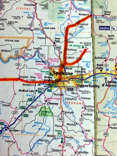 Map of Spokane, WA by Jets Like Taxis